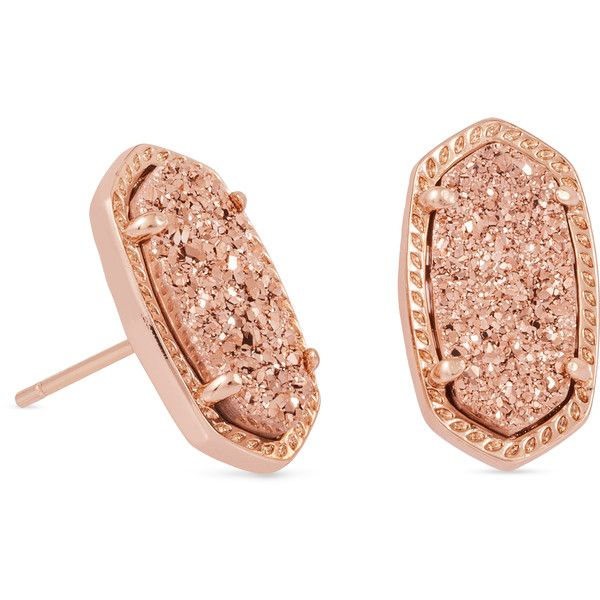 Ellie Rose Gold Stud Earrings in Drusy | Kendra Scott ($65) ❤ liked on Polyvore featuring jewelry, earrings, rose gold earrings, oval earrings, kendra scott, rose gold stud earrings and red gold jewelry