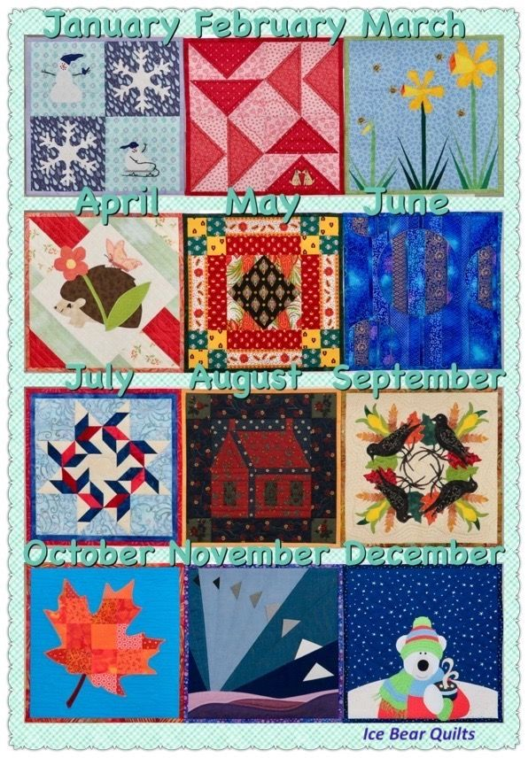 """The 12 time 12"""" by 12"""" mini quilt series from Ice Bear Quilts, January through December"""