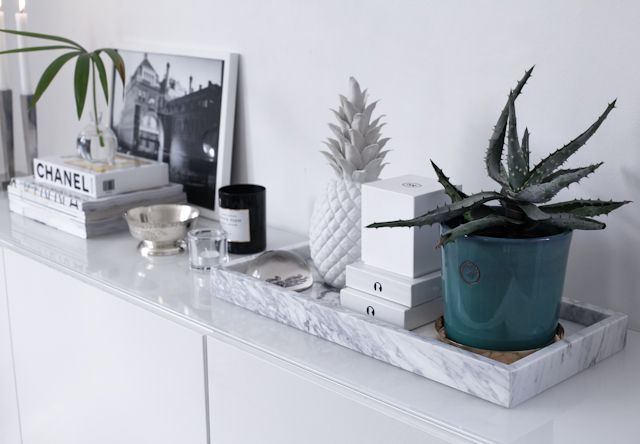 pineapple with marble tray and other gorgeous things for a sideboard