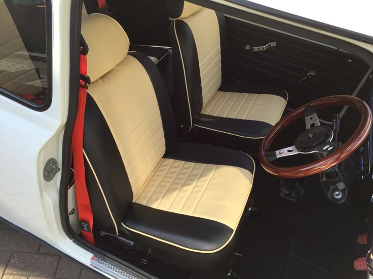 So proud of my seat covers even if it took me a week to do #classicmini