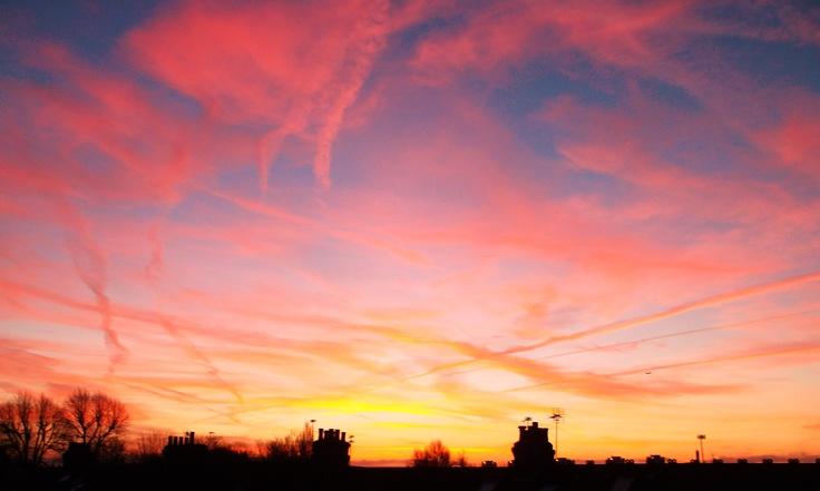 Sunrise above the chimneys