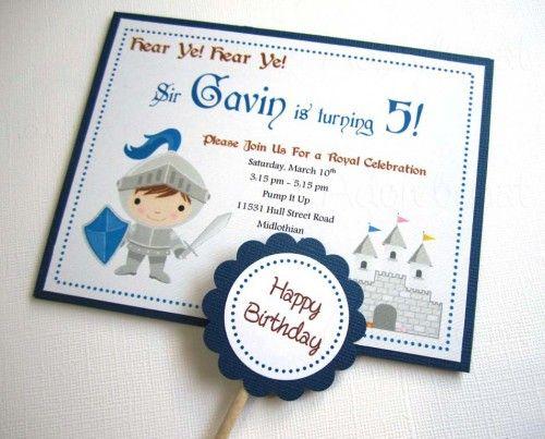 Handmade Knight Birthday Invitations - Set of 8 | adorebynat - Cards on ArtFire