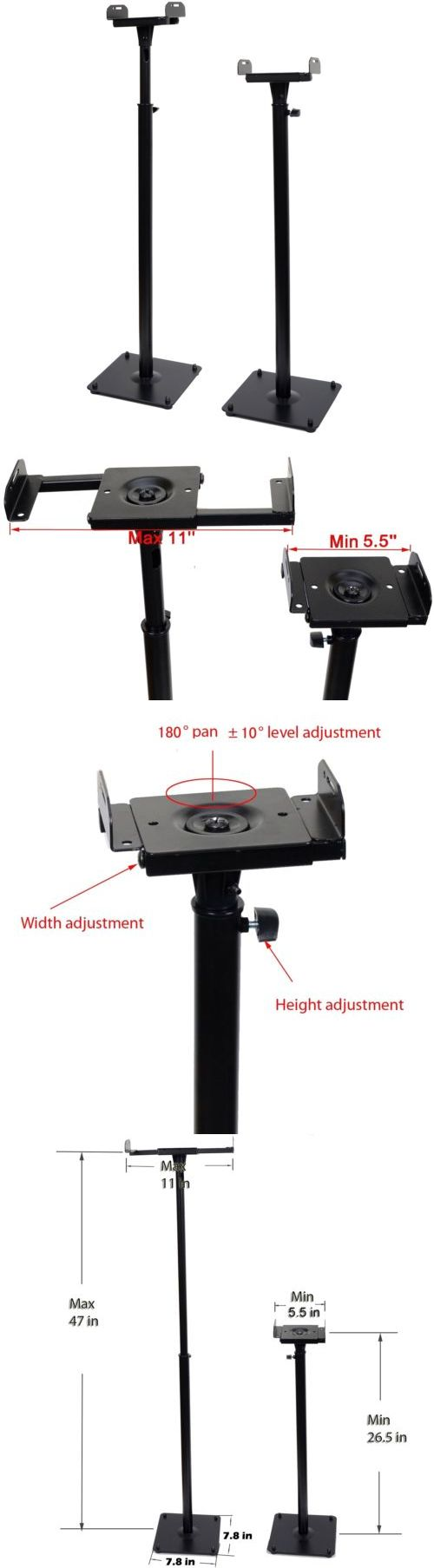Speaker Mounts and Stands: Adjustable Height Universal Home Theater Satellite Speaker Stands Holder Rack BUY IT NOW ONLY: $47.89