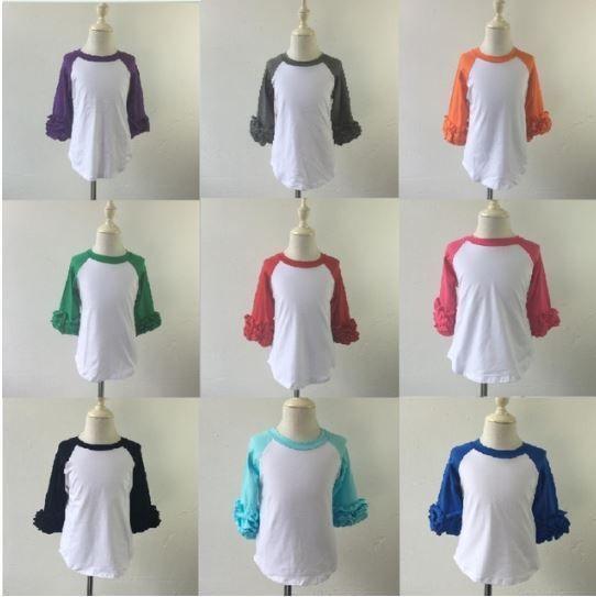 8ec39e2b IN STOCK Wholesale Girls Icing Ruffle Raglan Shirt Baseball Shirt Blank  Shirt #Everyday