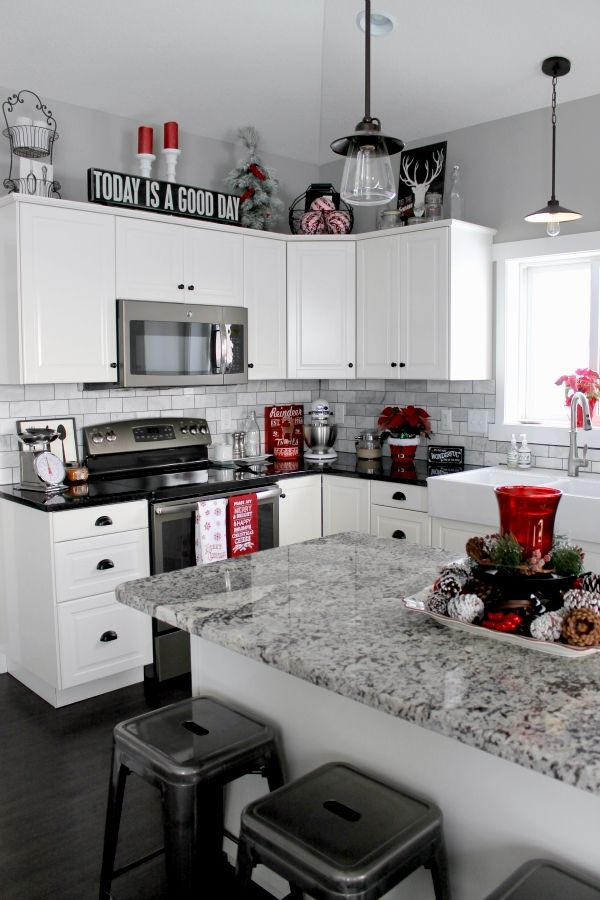 Check Out This Christmas Home Tour I Love The Pops Of Red Black And Plaid Kitchen White Kitchen Decor Christmas Kitchen Decor Black White Kitchen Decor