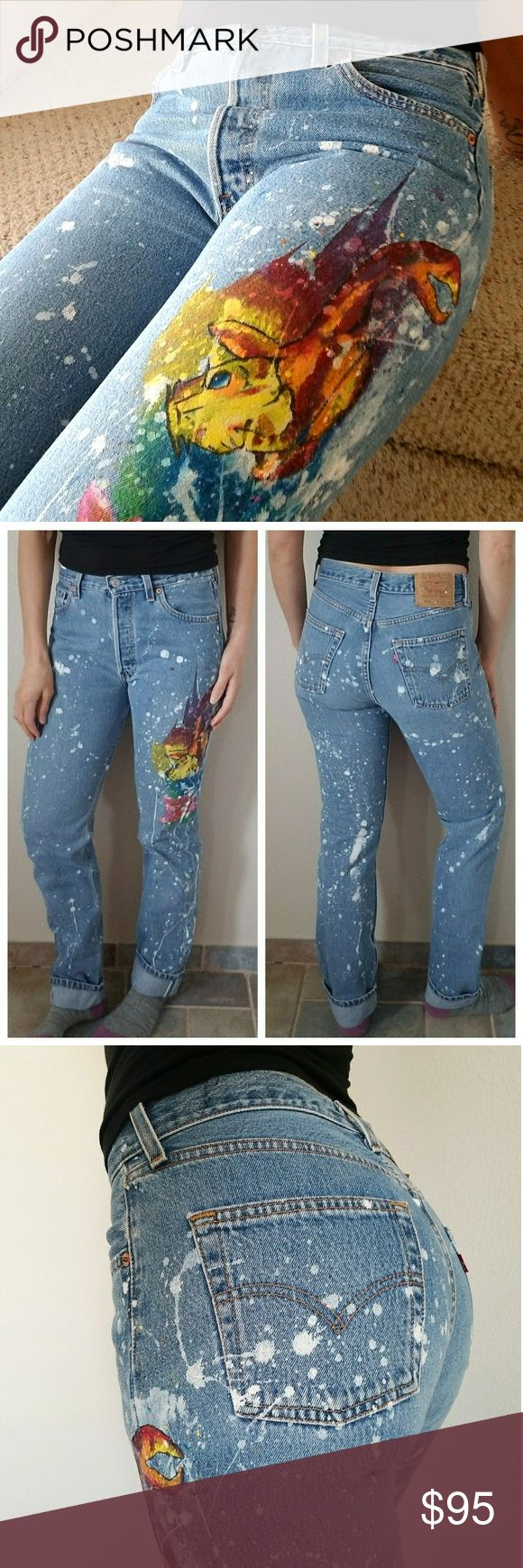 "Folktown Levi's 501 Handpainted Jeans  ONE OF A KIND! Handpainted by a local artist! Soooo amazing!! No one will ever have these jeans!! Splatter paint with cool fish sea creature! Incredible abstract art! Don't miss out of these!  Waistband measurement - 15"" Inseam - 34"" Rise - 11"" Levi's Jeans"