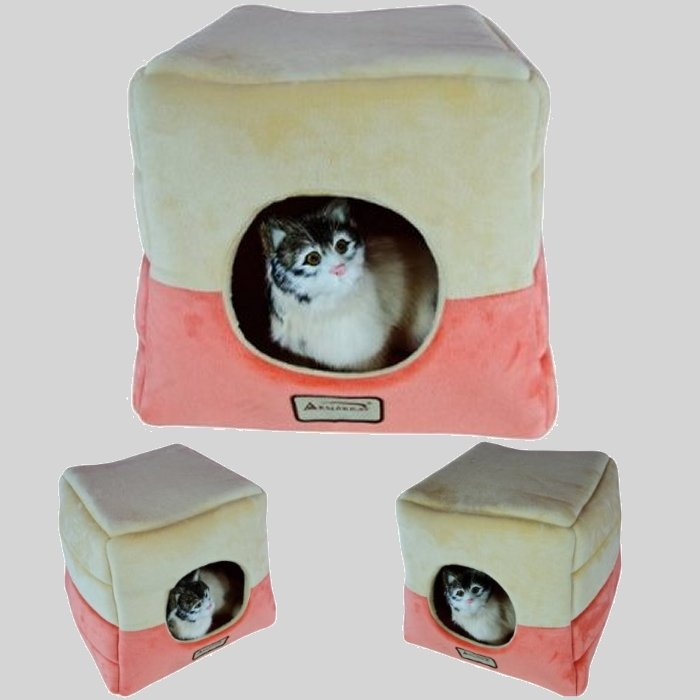 Armarkat C07CCS/MH Orange And Beige Velvet Cat Bed   Waterproof And With A  Skid