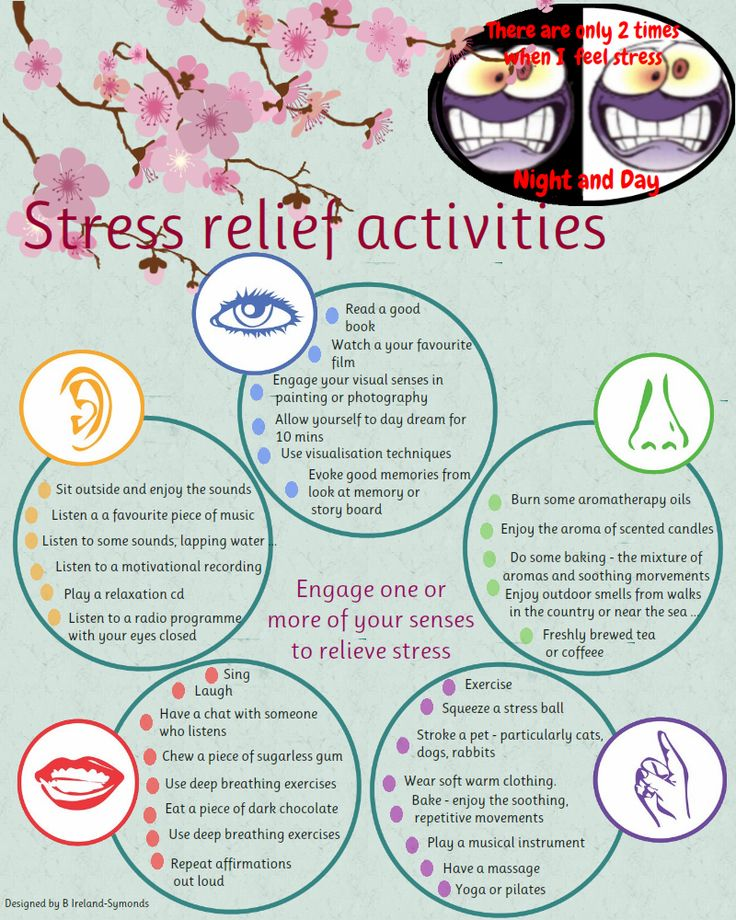 A nice diagram to reduce your stress using your 5 senses.  Even better - come up with your own ideas for what is stress relieving to you based on what senses relax you or stimulate you.  www.PsychologyCenterofAustin.com