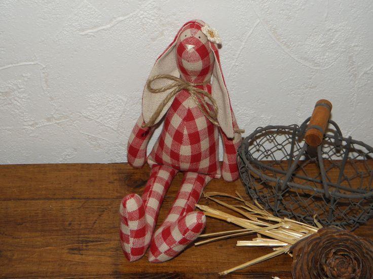 """Petit lapin en lin """"Ma maison à la campagne"""" réf.314 : Accessoires de maison par lefilalinge"""
