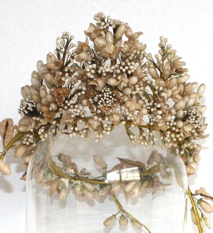 1880's French Antique Wax Orange Blossom Wedding Tiara Crown jackie kennedy wore wax orange blossoms