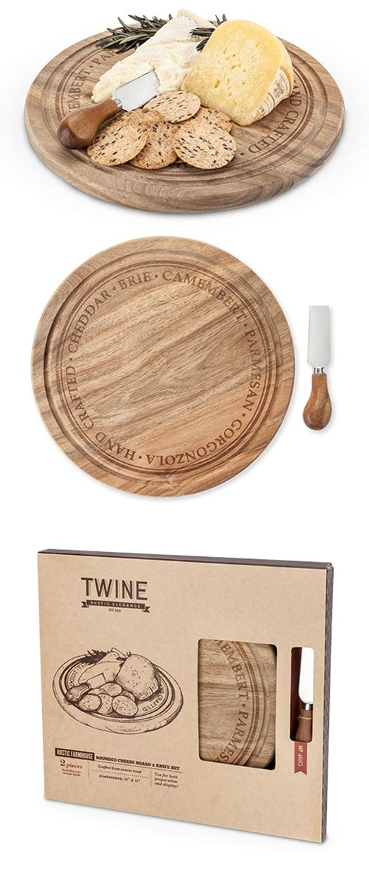 Rustic Farmhouse Rounded Acacia Wood Cheese Board & Knife Set by Twine | Personalized Gifts and Party Favors