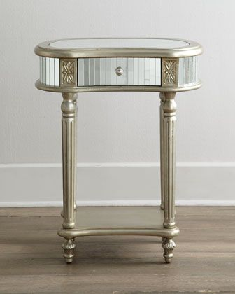 """Idea for mirrored coffee table for cocktail hour.  """"Melrose"""" mirrored side table at Neiman Marcus, $399.00."""