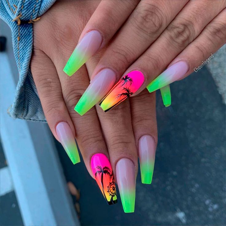Best Nails for Summer 2019 Cute green neon nails ombre design with an accent ombre palm nail for summer 2019 <a class=