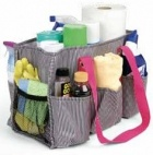 Organizing Utility Tote with cleaning products - a great solution to getting the house clean in a jiffy, room by room.