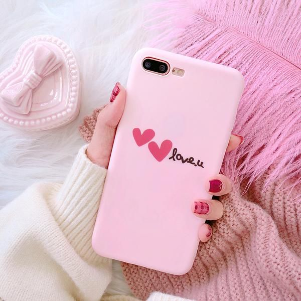 For iPhone X Case Scrub Pink Heart Love Shell Phone Soft Slim Fit ...