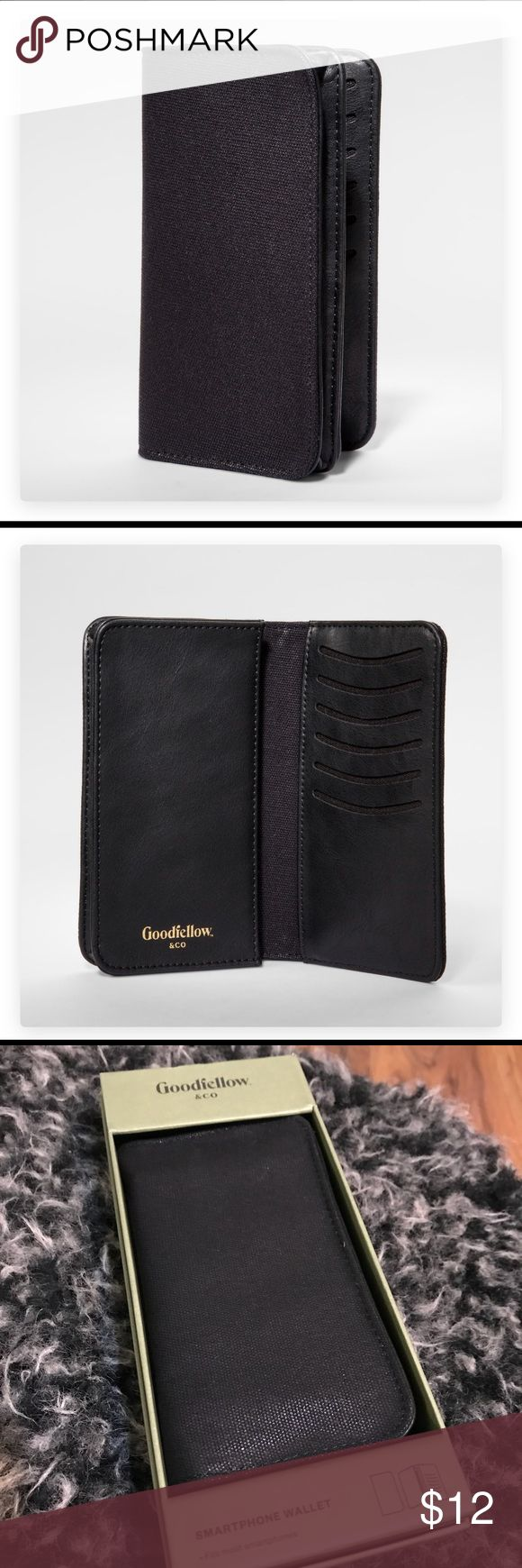 NWT Goodfellow Men's Cellphone Wallet Keep all your important pocket contents in one place with the Phone/Card Case Wallet from Goodfellow & Co™. This spacious carrying case is perfect for stashing your phone, credit cards, ID and anything else you need to hold. The slim profile is small enough to fit in a pocket or bag pouch, and the protective cotton shell helps hold things safely and securely.  6 in x 3.6 in case size fits most smartphones Features pockets for up to 6 cards Goodfellow…