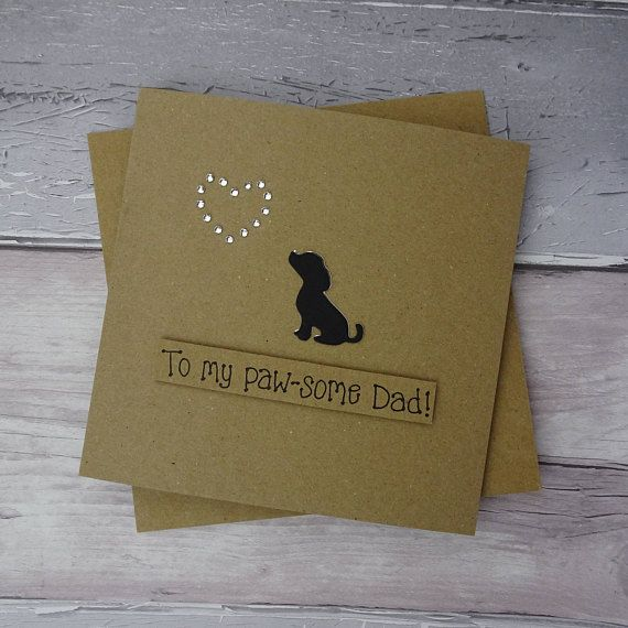 Handmade Father's Day puppy card Labrador or Spaniel
