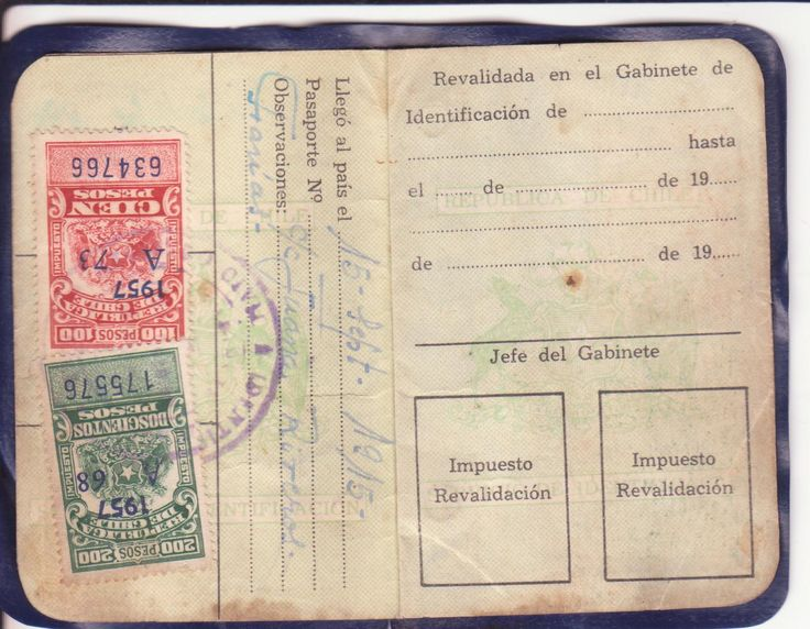 Cédula de identidad para extranjeros (reverso)