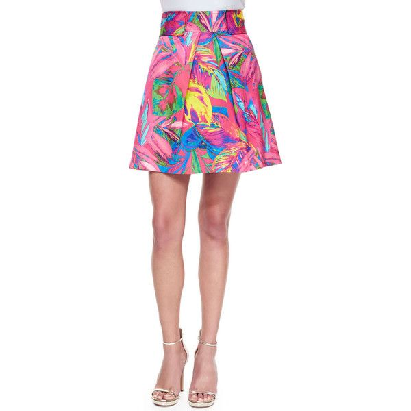 Milly Feather-Print Mini Skirt ($177) ❤ liked on Polyvore