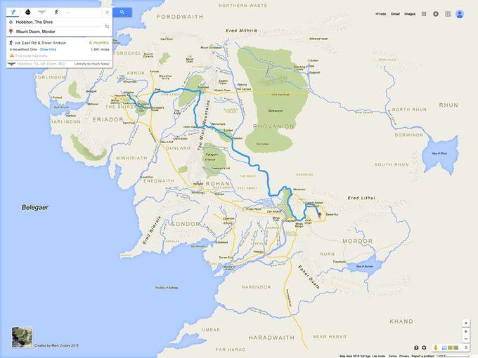 Карту Средиземья нарисовали в стиле Google Maps. Изображение №1.