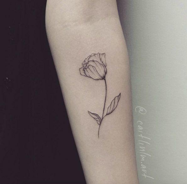 Minimalistic Tulip Tattoo by Caitlin Lindstrom-Milne