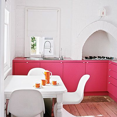 Energize a lackluster room: Want to spice up a dull kitchen? Paint your cabinets a vivacious hot pink that will resuscitate a tired space without the headache, time, or expense of an all-out renovation. Go ahead and get bold: The brighter shade you choose, the fewer additional upgrades you'll need to make.