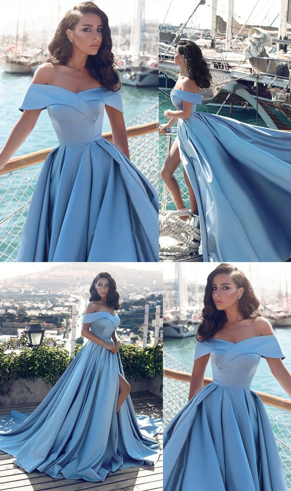 Elegant V-neck Off The Shoulder Long Satin Front Slit Evening Dress 2019