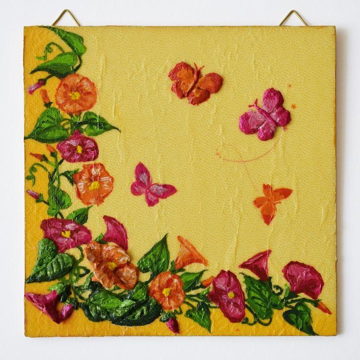 Flowers and butterflies (Virágok és pillangók) - 16 x 16 cm, 2017, https://www.vivienholl.com/termek/viragok-es-pillangok/ #paverpol  #napkin #szalvéta #flowers #flower #virágok #virág #butterfly #butterflies #pillangó #pillangók #pentart #vivienholl