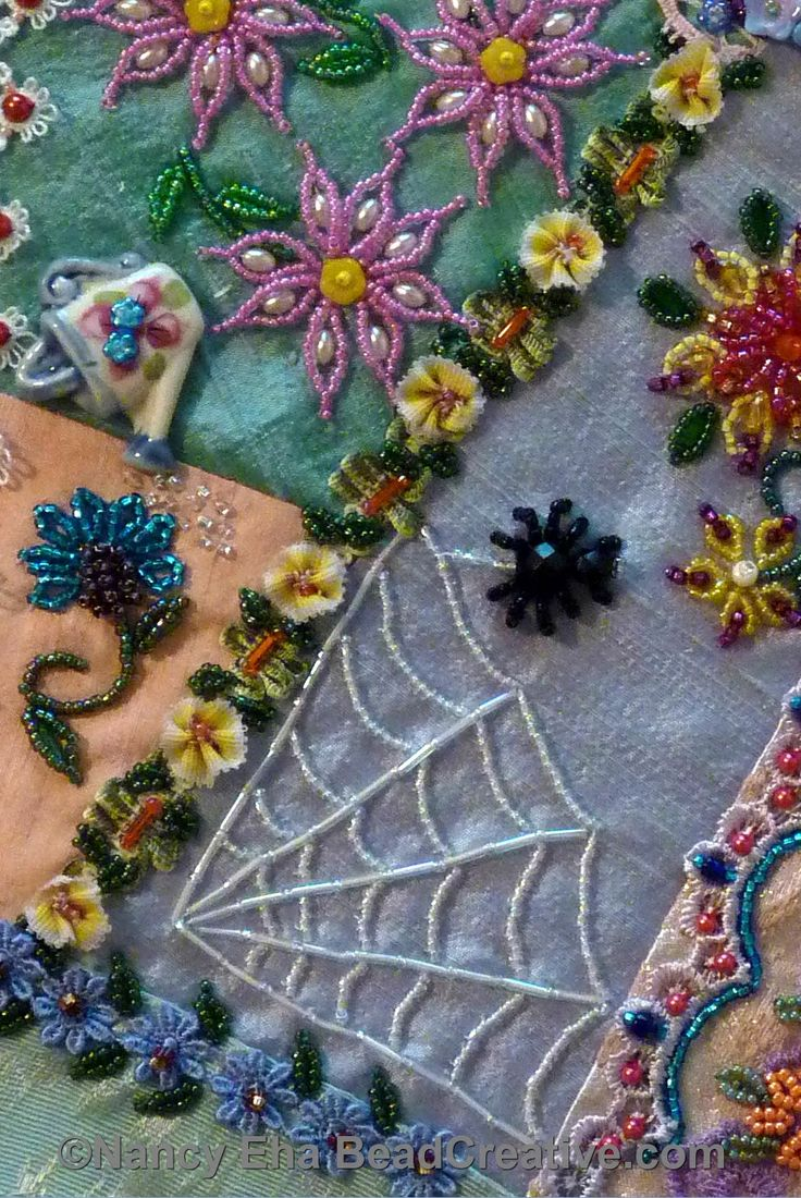 Detail of beading techniques Nancy Eha has developed, More in her book Bead Creative Like Crazy