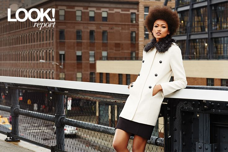 Fur collars are in this fall! Stay warm in a bright white coat that will take you from fall to winter