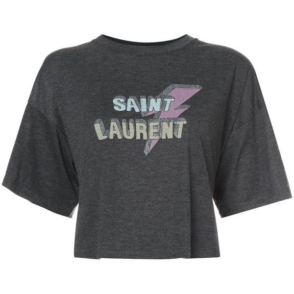 Saint Laurent cropped lightening bolt T-shirt ($490) ❤ liked on Polyvore featuring tops, t-shirts, grey, punk t shirts, crew neck t shirt, crop top, punk rock t shirts and crew neck tee