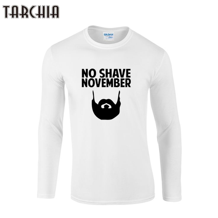 TARCHIIA 2017 Brand tops tee fitness Long Sleeve Men o-neck no shave november T-Shirt 100% Cotton Plus Size t shirt Funny  Homme #Affiliate