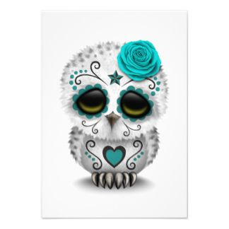 invitation day of the day | Cute Teal Day of the Dead Sugar Skull Owl White Personalized Invite