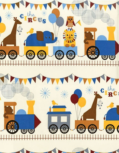 The circus train vintage by print and pattern via for Train themed fabric