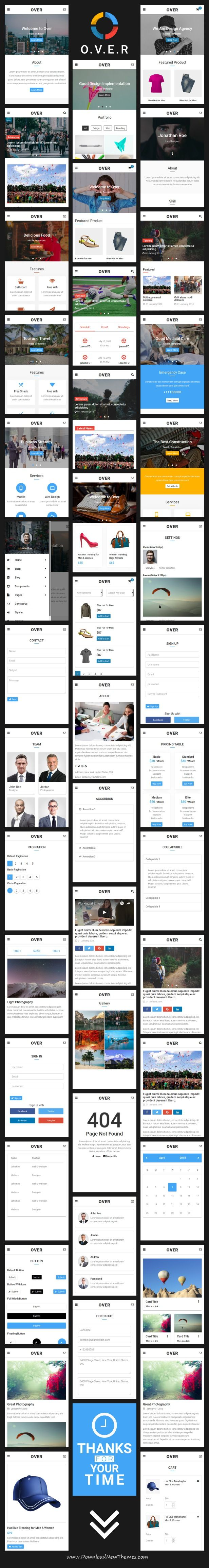 Over - Multi-Concept Web App UI Kit Mobile Template | Template and ...