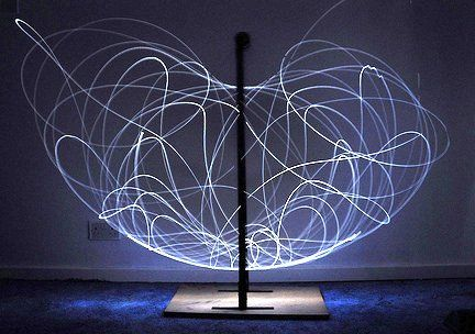 Long exposure of double pendulum exhibiting chaotic motion (tracked with a LED). via wikiwand.com