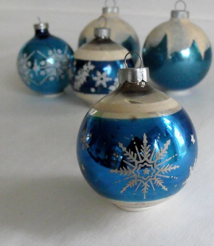 Vintage blue and white ornaments