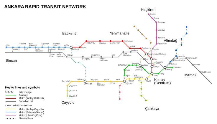 #Ankara, a capital da Turquia, tem o seu próprio sistema de trens rápidos, o #Metrô de Ankara (em turco, Ankara Metrosu). Este sistema possui 2 linhas: metrô de Ankara e Ankaray, com uma longitude total de 23,4 kms. O metrô de Ankara é a linha que cobre a zona norte-sul, e a Ankaray vai de Oeste a Leste. As duas linhas pertencem e são exploradas pela Ankara Municipality