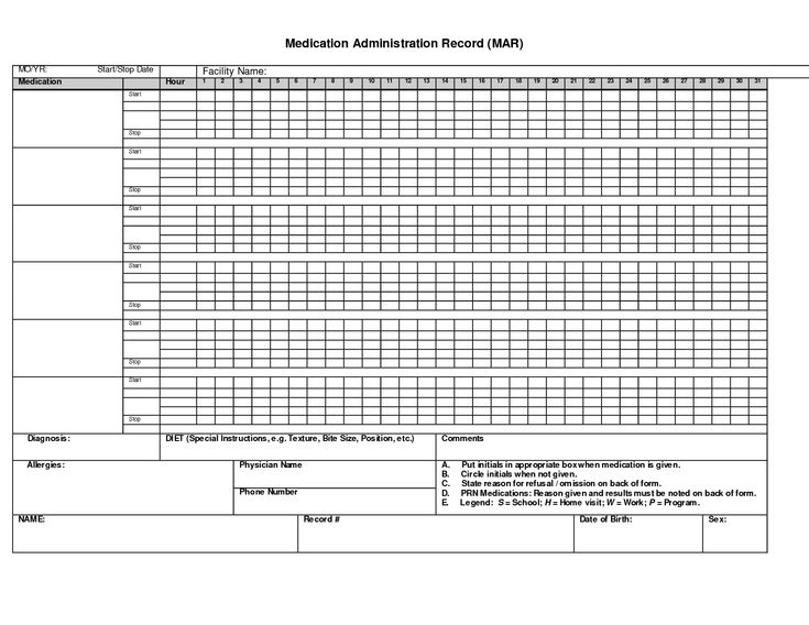 administration record printable medication chart