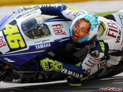 Vanentino Rossi with intertesting Helmet Moto GP
