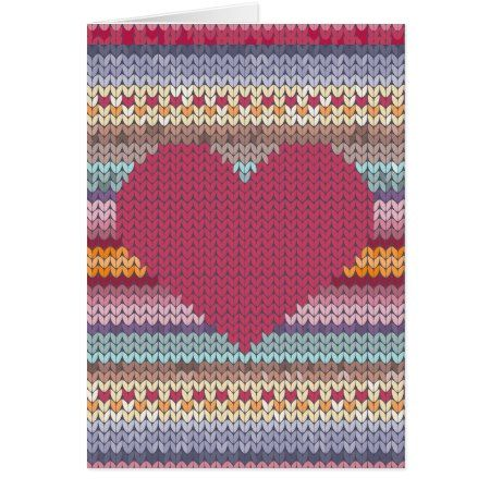 Valentines day red knitted heart card - tap, personalize, buy right now!
