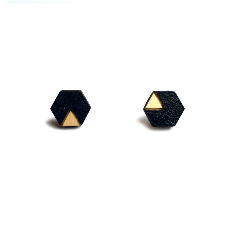Amindy - Hand painted hexagon geometric earrings - black - $22 - Shop online at www.amindy.com.au