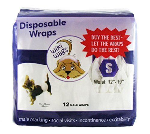 "Wiki Wags Brand 12 Small Disposable Male Dog Wraps (Waist: 12""-19"") ** Learn more by visiting the image link."
