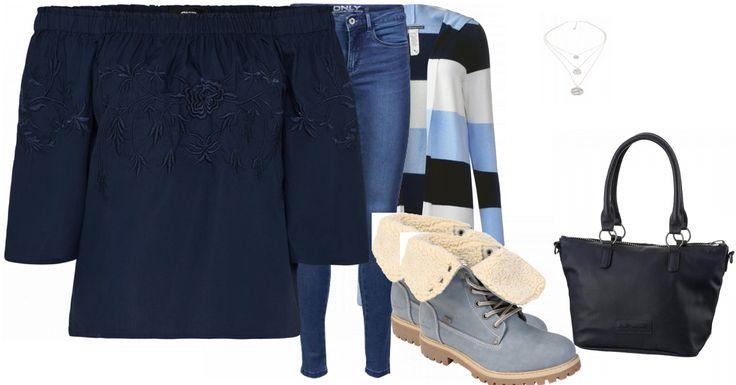 Ein schicker Ton in Ton Look für die Freizeit. Die Skinny-Jeans von Only wird mit einer angesagten Off-Shoulder-Bluse getragen. Die Strickjacke von Street One in einem echt coolen Design peppt die Kombi auf und das Beste, sie hält schön warm. :) Auch die Stiefel von Tom Tailor sind gefüttert und stylish zugleich. Eine schlichte Tasche und eine mehrreihige Kette vollenden das Ganze. Besonders etwas für alle Blauliebhaberinnen. :D Daumen hoch!