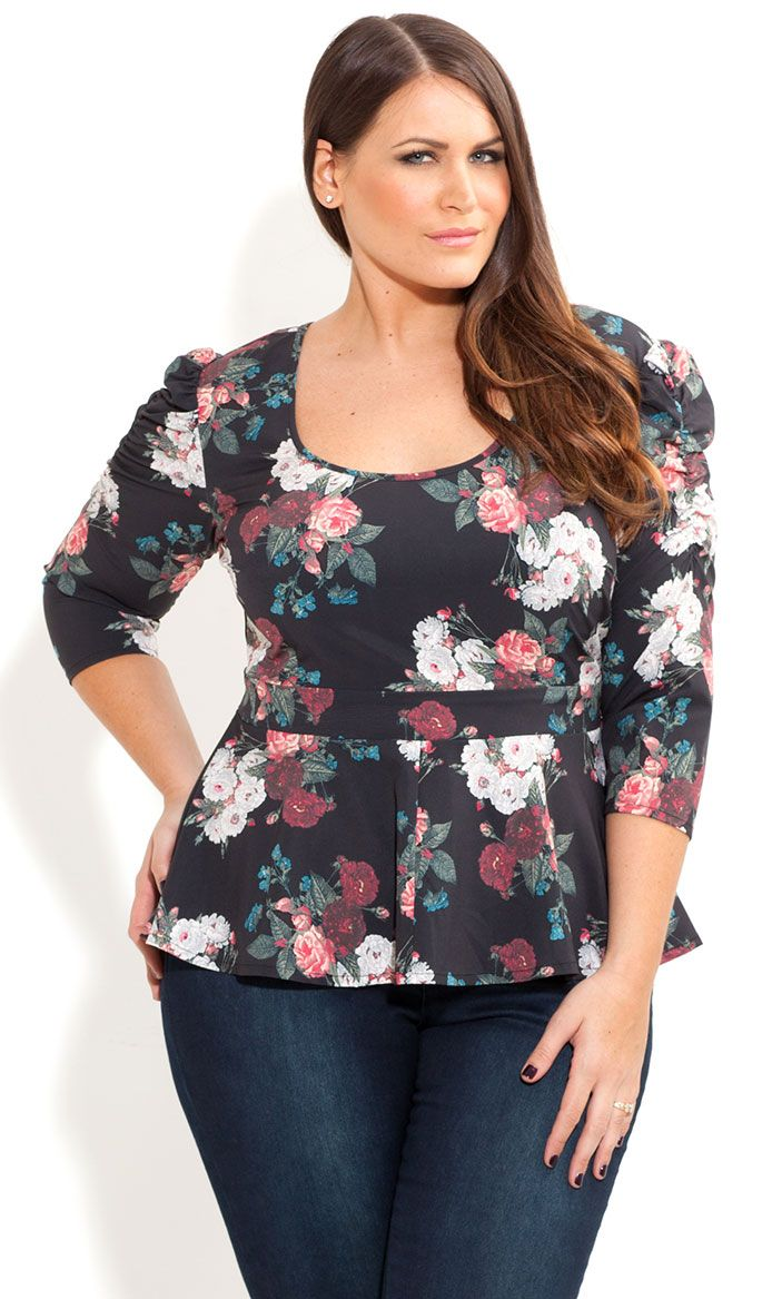 City Chic - ROSE AMORE PEPLUM TOP - Women's plus size fashion