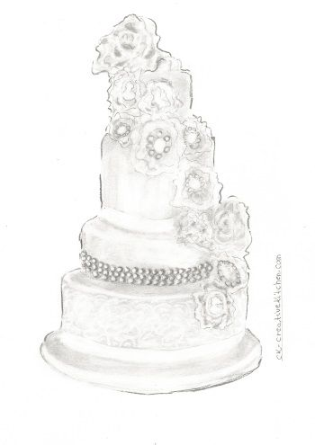CAKE #COLORING PAGES - Amazing #charcoal drawn coloring cake printable for free.