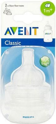 Avent Airflex Silicone Teats - Slow Flow 2 Hole 1mth+ (2)