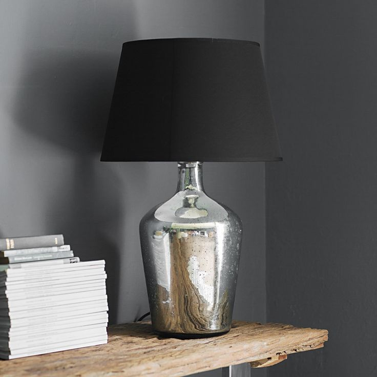 Attrayant Genie Table Lamp In Silver  An Hand Blown Oversized, Weighty Glass Lamp In  Antique Silver. Comes Complete With A British Made Black Cotton Retro Shade.