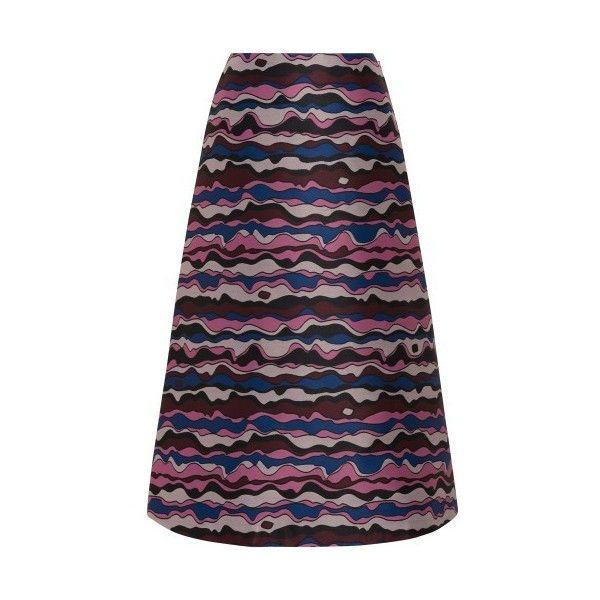 Roksanda  Viga Skirt ($1,445) ❤ liked on Polyvore featuring skirts, purple, purple print skirt, jacquard skirt, a line skirt, multi color skirt and pattern skirt