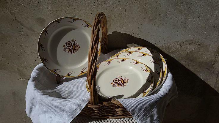 Boch La Louvière 6 assiettes plates art déco / Art déco plates de la boutique ChezOdileBrocante sur Etsy